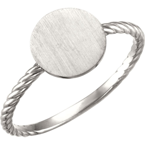 Continuum Sterling Silver Round Engravable Rope Ring, Size 7