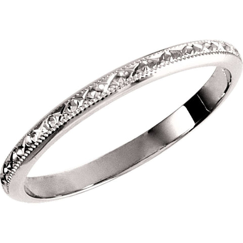 14k White Gold Wedding Band , Size 7