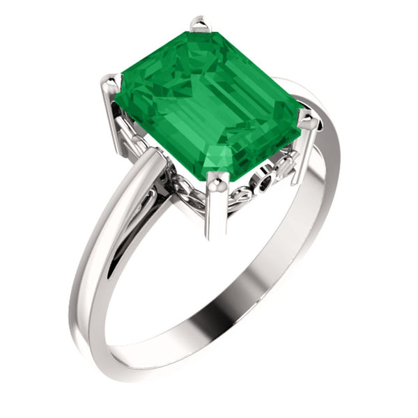 14k White Gold 9x7mm Emerald Scroll Setting® Ring Mounting, Size 7