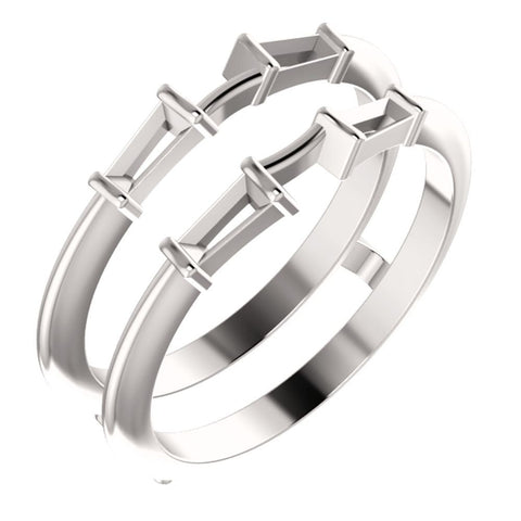 Palladium 4.5x2.25mm Tapered Baguette Four-Stone Ring Guard Mounting , Size 6