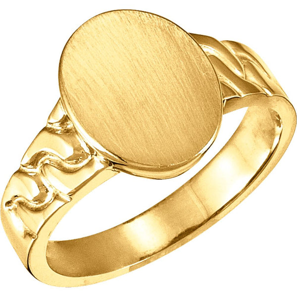 14k Yellow Gold 14x11mm Men's Signet Ring with Brush Finish, Size 10