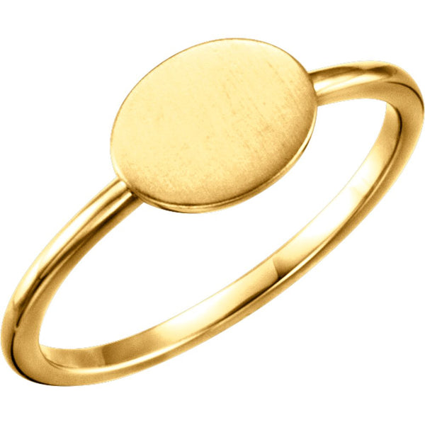 14k Yellow Gold Oval Engravable Ring , Size 7