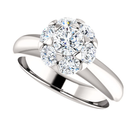 14k White Gold 1 1/5 CTW Diamond Cluster Engagement Ring, Size 7