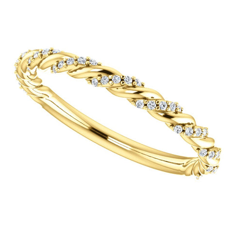 14k Yellow Gold 1/8 CTW Diamond Pavé Twisted Anniversary Band, Size 7