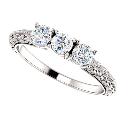 14k White Gold 1/2 CTW Diamond Three-Stone Anniversary Band, Size 7