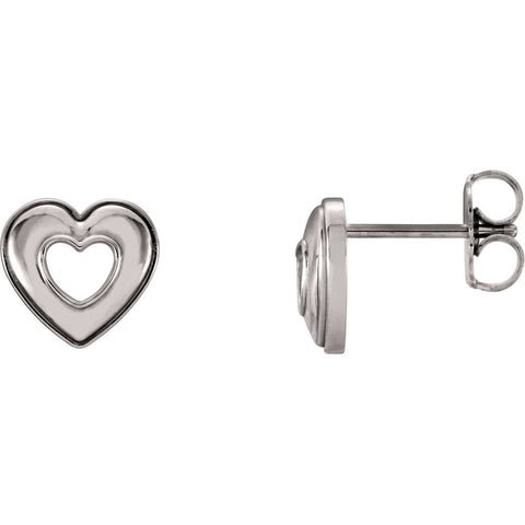 14k White Gold Heart Earrings ( 08.00x08.50 MM )