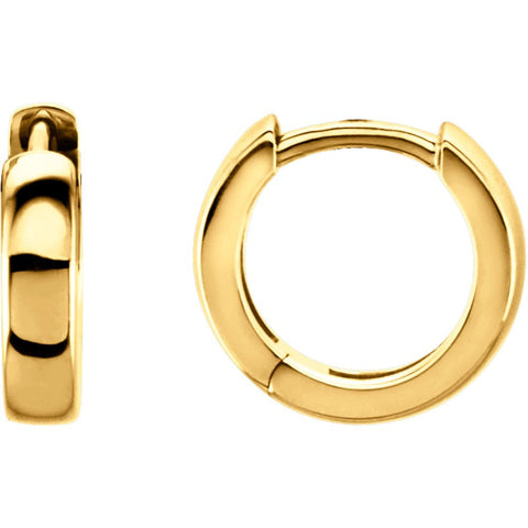 14K Yellow Gold 11.5mm Hinged Hoop Earrings
