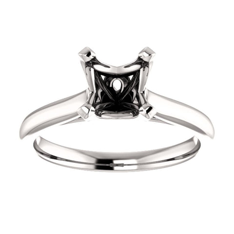 Platinum 6.5mm Square Engagement Ring Mounting, Size 7