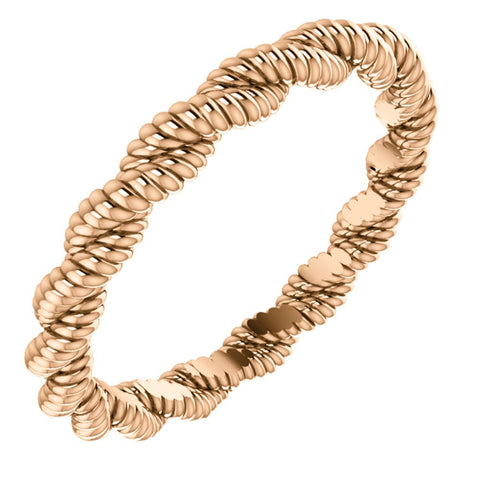 14k Rose Gold Twisted Rope Band Size 7