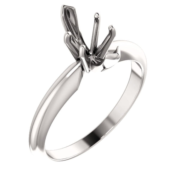 Platinum 6-Prong Marquise V-End Heavy Solitaire Engagement Ring , Size 6
