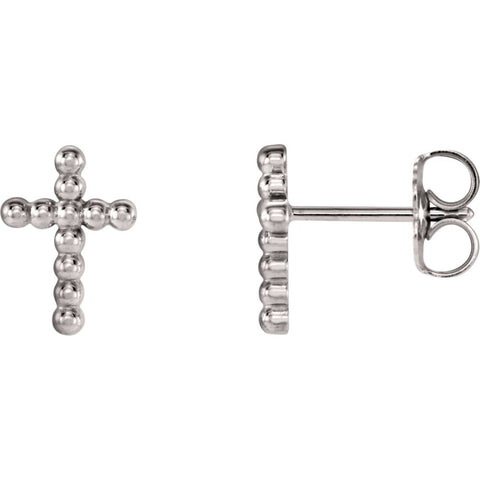 14K White Gold Beaded Cross Earrings