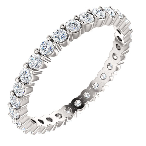 14k White Gold 3/4 CTW Diamond Eternity Band Size 8.5