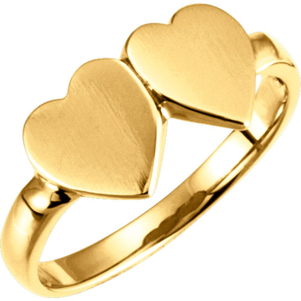 14k Yellow Gold Double Heart Signet Ring, Size 5.75
