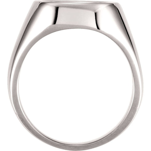 14k White Gold 12mm Men's Signet Ring, Size 11