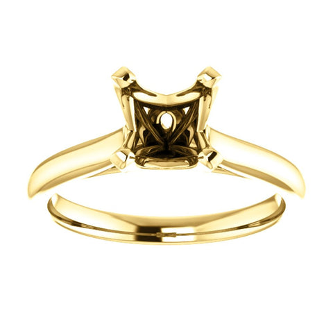 14k Yellow Gold 6.5mm Square Engagement Ring Mounting, Size 7