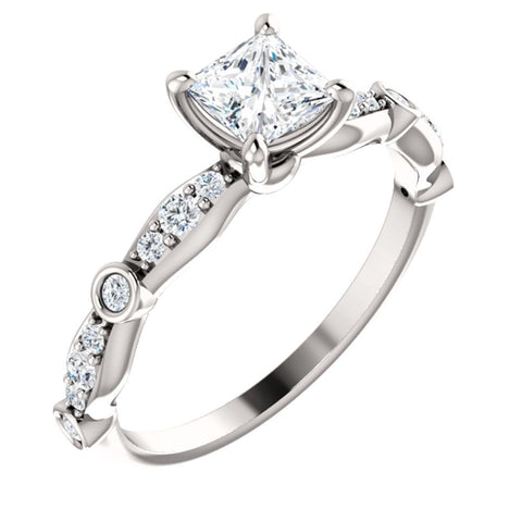 3/4 CTTW Vintage-Inspired Engagement Ring in 14k White Gold ( Size 6 )