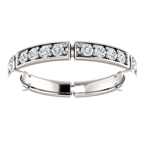 14k White Gold 3/4 CTW Diamond Eternity Band, Size 7