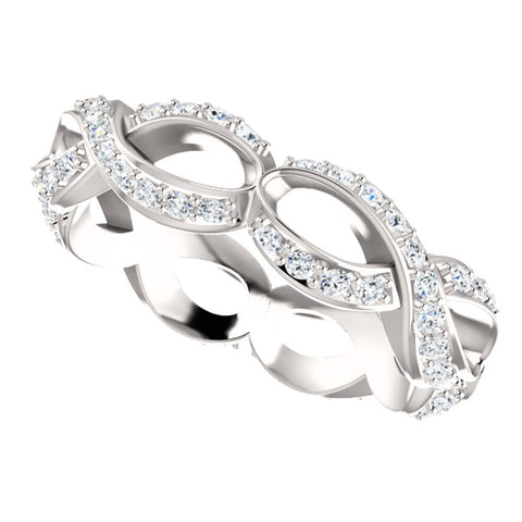 14k White Gold 3/4 CTW Diamond Infinity-Inspired Eternity Band Size 7