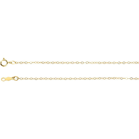 1.0 mm Lasered Titan Gold Curb Chain in 14k Yellow Gold ( 24-Inch )