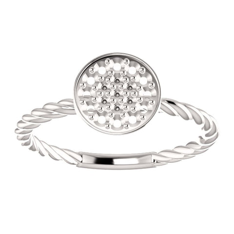 14k White Gold Rope Cluster Ring Mounting, Size 7