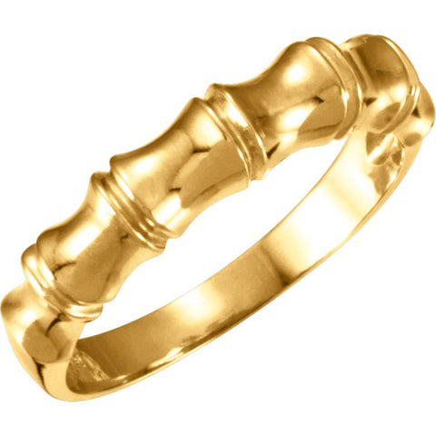 14k Yellow Gold 5mm Ladies Bamboo Design Tapered Band, Size 7