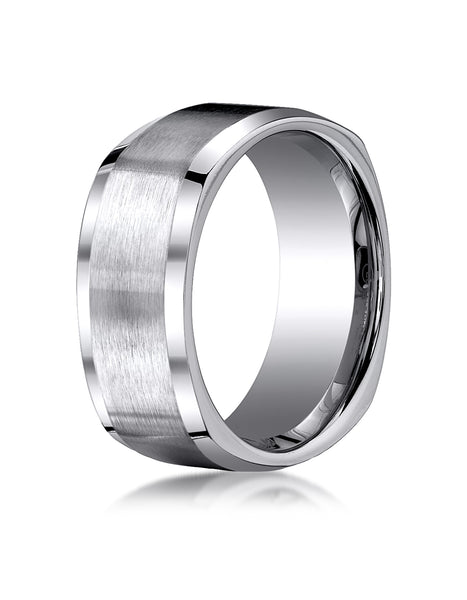 Benchmark Titanium 9mm Comfort-Fit Satin-Finished Four-Sided Design Wedding Band Ring, (Sizes 6 - 14)