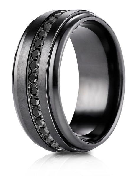 Benchmark Black Titanium 9mm Comfort-Fit Black CZ Eternity Ring, (Size 6-14)