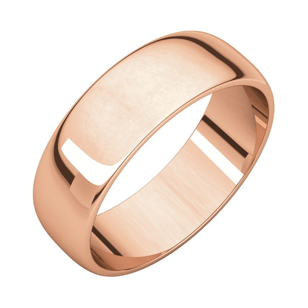 10k Rose Gold 6mm Half Round Light Band, Size 11