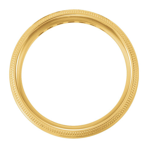 14k Yellow Gold 5mm Half Round Comfort Fit Double Migraine Band Mounting Size 10.5