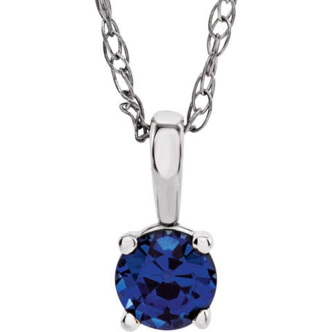 "14k White Gold Imitation Sapphire ""September"" Birthstone 14-inch Necklace for Kids"