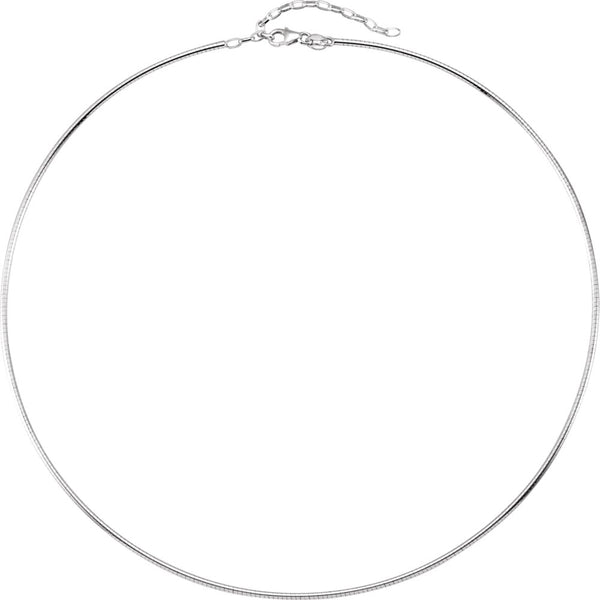 "Sterling Silver 2mm Round Omega 16.5"" Chain with 2"" Extension"