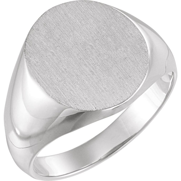 14k White Gold 14x12mm Solid Oval Men's Signet Ring, Size 11