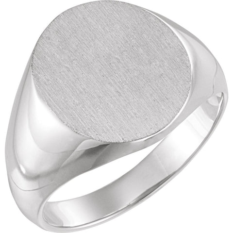 14.00x12.00 mm Men's Solid Oval Signet Ring with Brush Finished Top in 14K White Gold ( Size 10 )