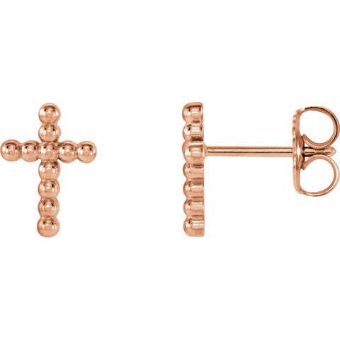 14k Rose Gold Beaded Cross Earrings