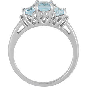 14k White Gold Aquamarine & .05 CTW Diamond Ring , Size 7
