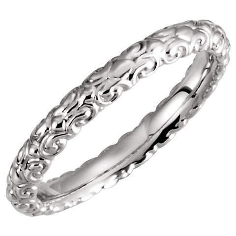 14k White Gold Sculptural-Inspired Band Size 5.5