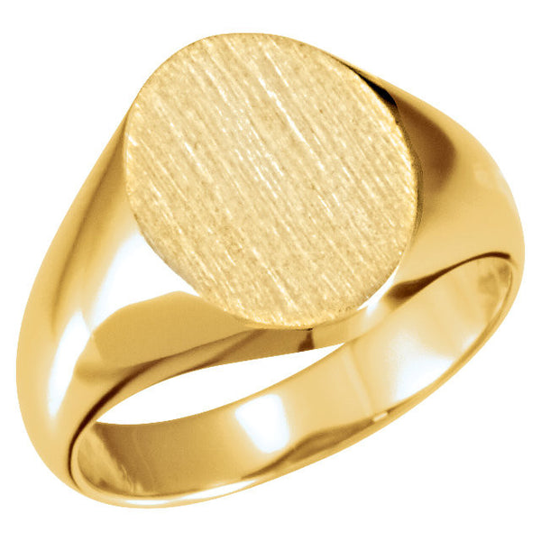 10k Yellow Gold 10x12mm Oval Signet Ring , Size 6