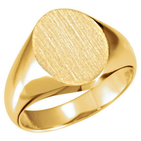 12.00X10.00 mm Oval Signet Ring in 10k Yellow Gold ( Size 6 )