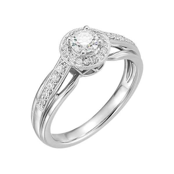 14k White Gold 1/2 CTW Diamond Engagement Ring , Size 7