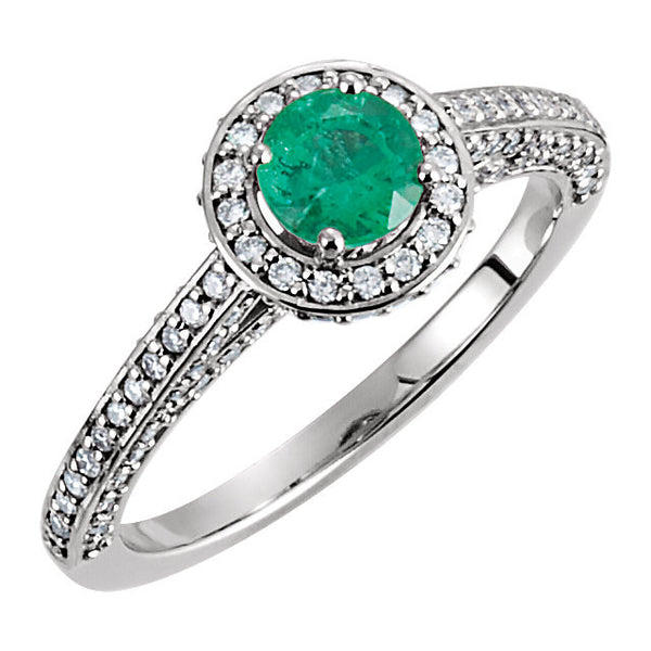 14k White Gold Emerald & 5/8 CTW Diamond Engagement Ring , Size 7