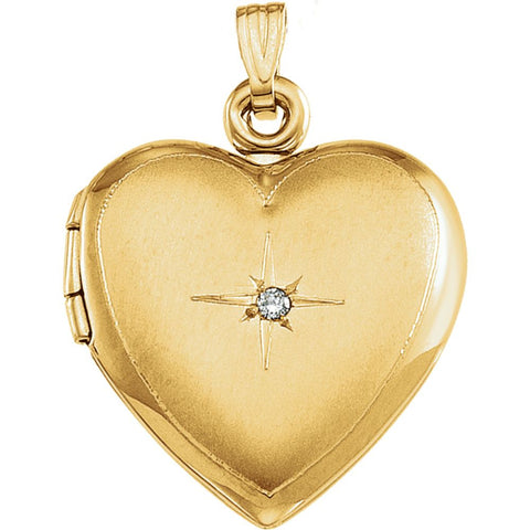 14k Yellow Gold Diamond Accented Heart Locket