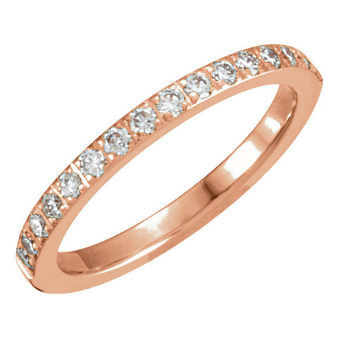 14k Rose Gold 1/3 CTW Diamond Anniversary Band, Size 8