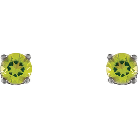 14k White Gold Imitation Peridot Youth Earrings