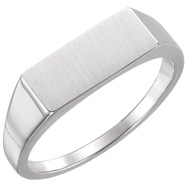 Sterling Silver Men's Rectangle Signet Ring, Size 11