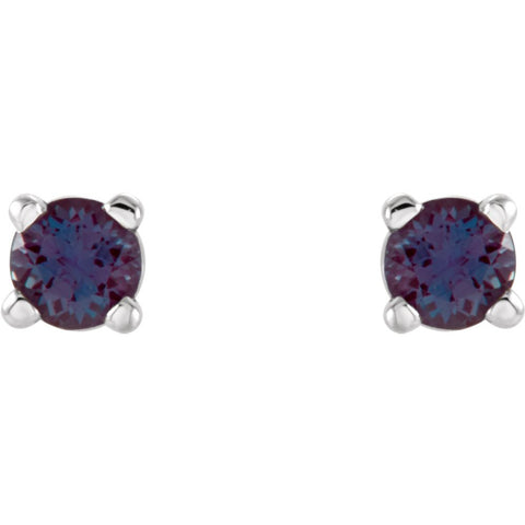 14K White Gold 2.5mm Round Chatham« Created Alexandrite Earrings