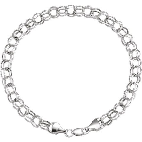 "14k White Gold 7.9mm Hollow Double Link Charm 7.25"" Bracelet"