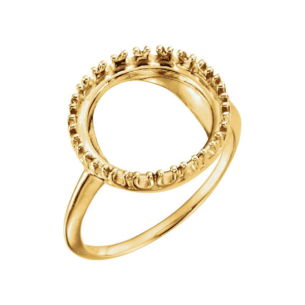 14k Yellow Gold 13mm Coin Ring Mounting, Size 6