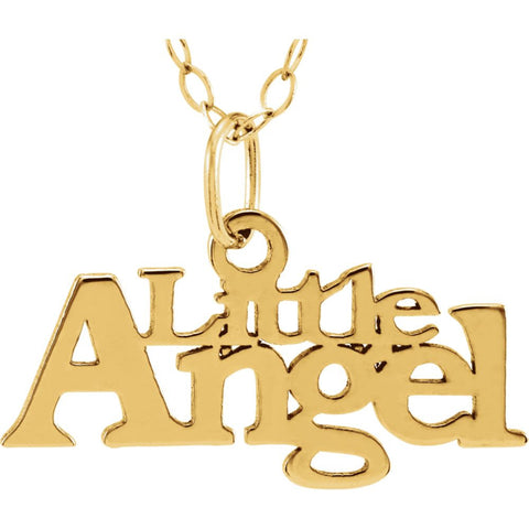 "14k Yellow Gold ""Little Angel"" Pendant with 15"" Chain"