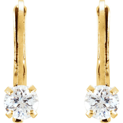 14k Yellow Gold Cubic Zirconia Youth Lever Back Earrings