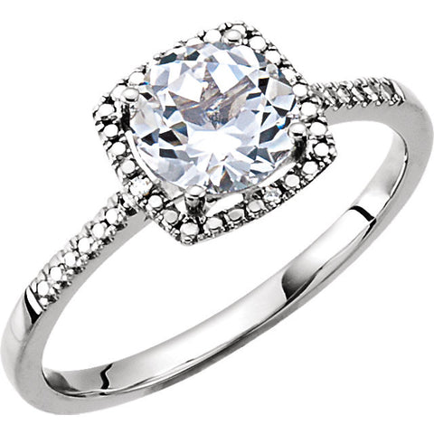 Sterling Silver Lab-Grown White Sapphire & .01 CTW Diamond Ring, Size 7